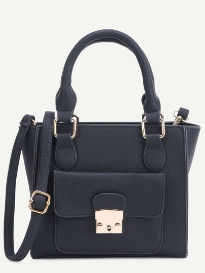 Black Faux Leather Front Pocket Handbag With Strap