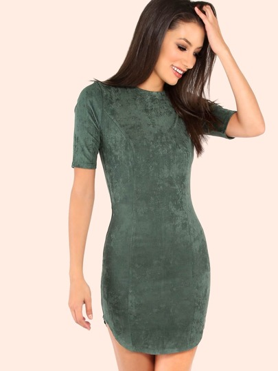 Faux Suede Sleeve Curved Hem Dress HUNTER GREEN