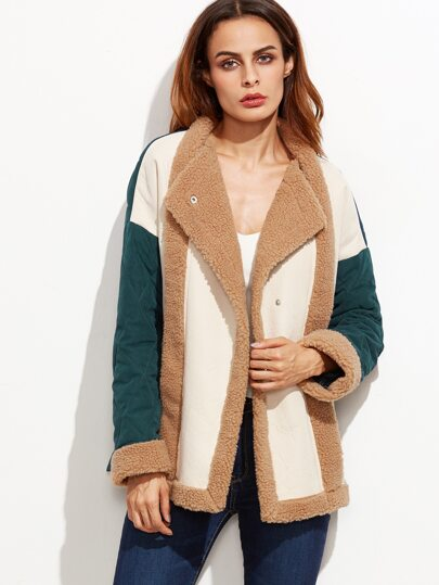 Color Block Faux Shearling Trim Quilted Coat