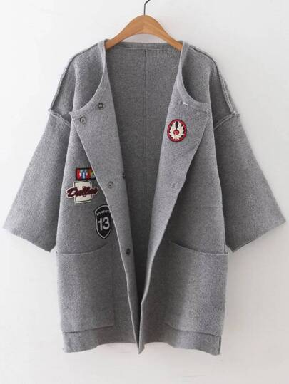 Grey Patch Embroidery Drop Shoulder Side Slit Pocket Cardigan