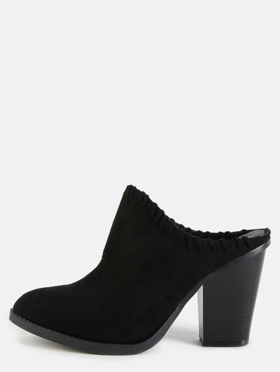 Backless Stitched Chunky Heel Mules BLACK