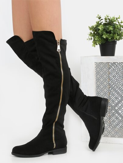 Exposed Zipper Flat Boots BLACK
