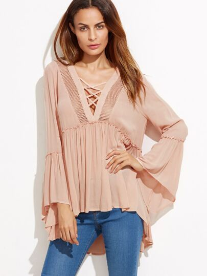 Bell Sleeve Criss Cross Dip Hem Hollow Blouse