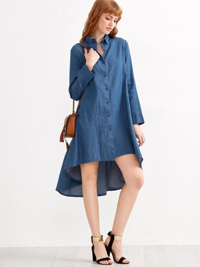 Blue High Low Denim Shirt Dress