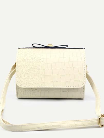 White Faux Leather Crocodile Embossed Flap Shoulder Bag