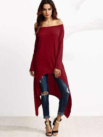 Burgundy Off The Shoulder Asymmetrical Top