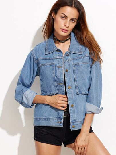 Blue Single Breasted Pockets Denim Jacket