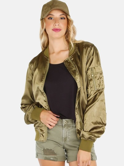 Satin Ruched Bomber Jacket OLIVE