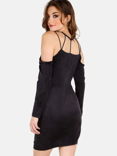 High Neck Sleeved Cold Shoulder Dress BLACK