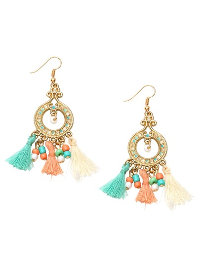 Multicolor Tassel Beaded Circle Drop Earrings