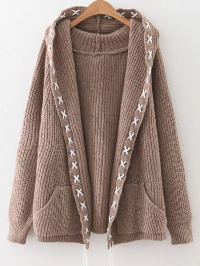 Khaki Lace Up Trim Hooded Cardigan With Pockets