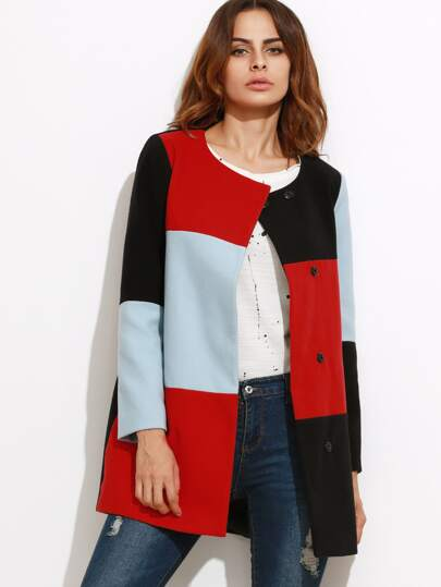 Color Block Collarless Hidden Button Coat