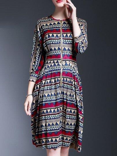 Vestido recto con estampado y cremallera - multicolor