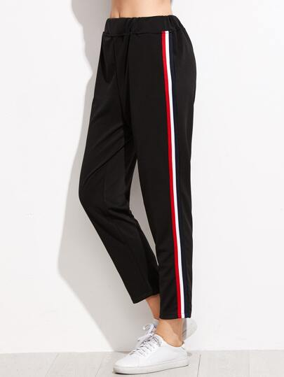 Black Stripe Side Track Pants