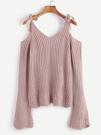 Purple Cold Shoulder Tie Detail Scalloped Hem Sweater