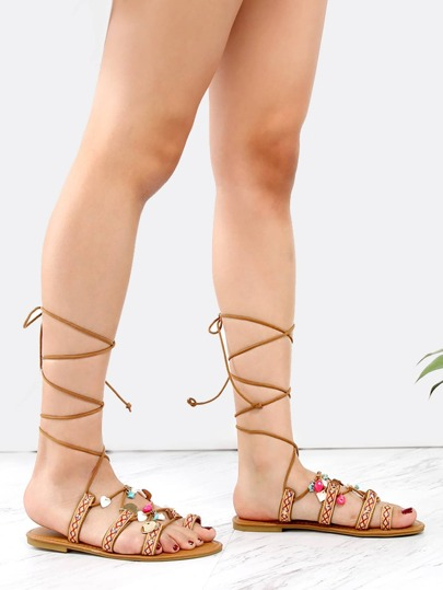 Embroidered Straps Charm Sandals NATURAL