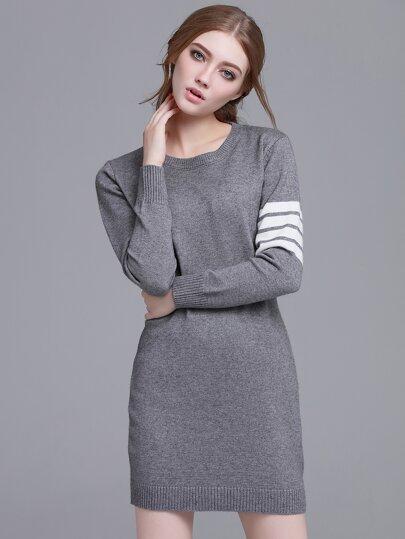 Grey Striped Long Sleeve Sweater Dress