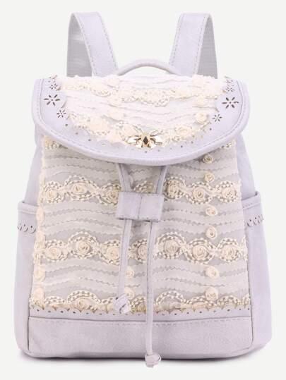 Grey Lace Flower Embellished Drawstring PU Backpack