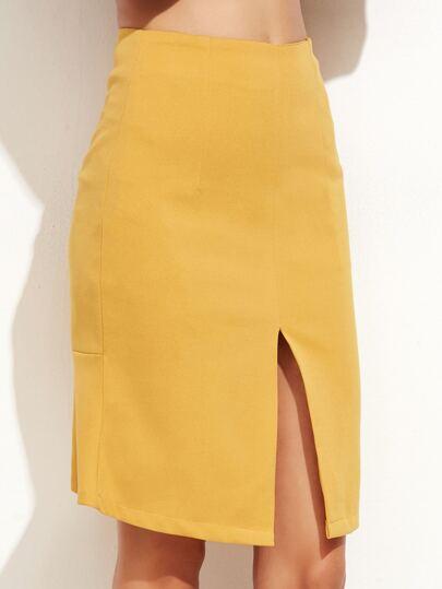 Falda con volantes - amarillo