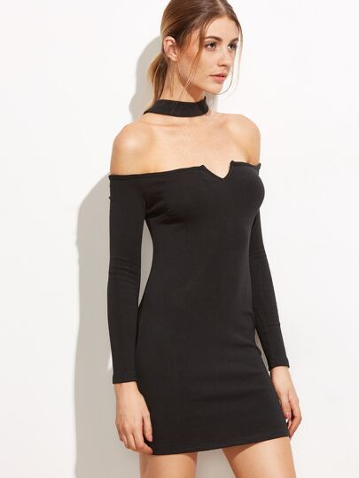 Black Cut Out Choker Detail Bodycon Dress
