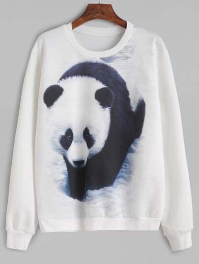 White Panda Print Sweatshirt