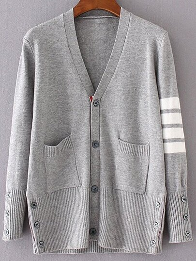 Grey Striped Sleeve Button Up Cardigan