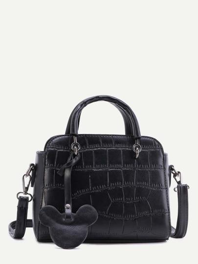 Black Embossed PU Mickey Trim Handbag With Strap