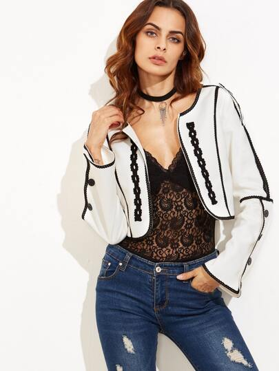 White Lace Trim Buttoned Bell Sleeve Crop Blazer