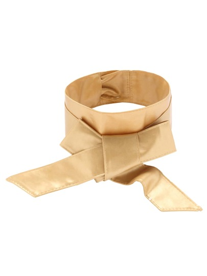 Gold Faux Leather Wide Wrap Belt