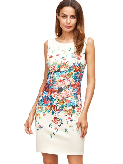Apricot Floral Print Sleeveless Sheath Dress