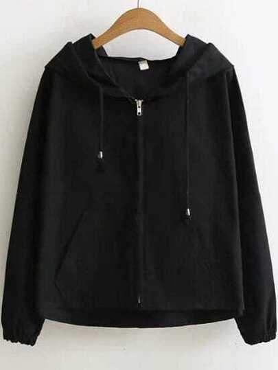 Black Question Mark Hooded Zipper Coat With Batwing Sleeve