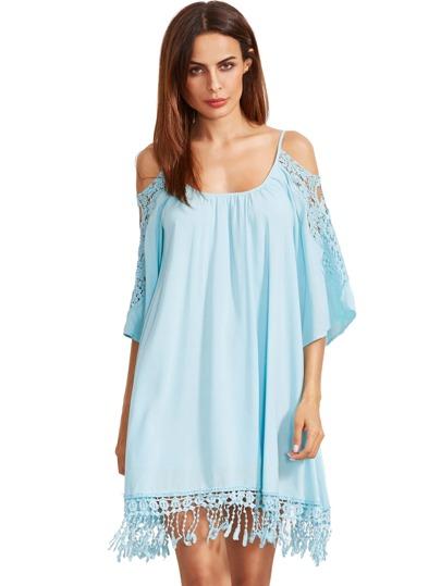 Blue Open Shoulder Crochet Lace Sleeve Tassel Dress