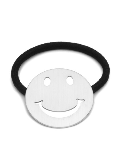 Silver Plated Smiley Face Hair Tie