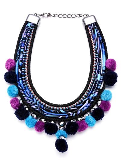Blue Multi Strand Pom Pom Statement Necklace