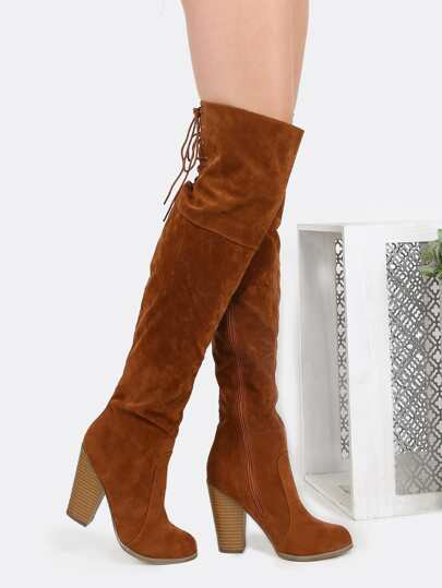 Faux Suede Chunky Lace Back Boots TAUPE