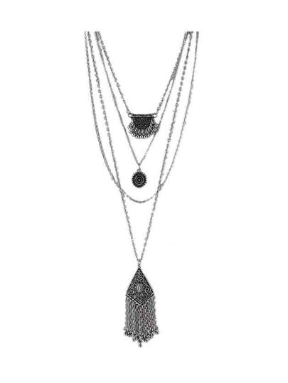 At-Silver Indian Design Multilayers Geometric Tassel Necklace For Lady