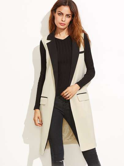 Apricot Contrast Notch Collar Sleeveless Coat