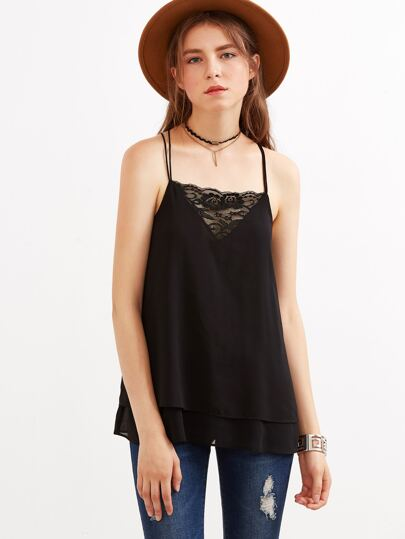 Black Lace Trim Layered Strappy Cami Top