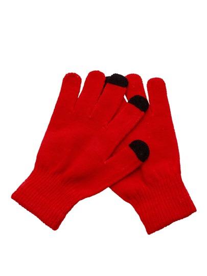 Gants tricotés contrastés - rouge