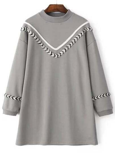 Grey Chevron Pattern Crew Neck Sweatshirt Dress