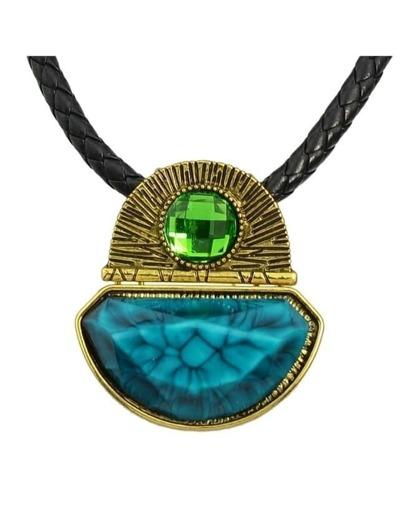 Blue Pu Chain Pendant Necklace