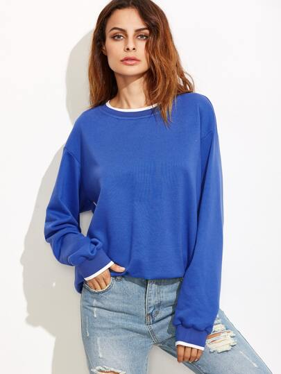 Blue Striped Trim Drop Shoulder Contrast Piping Sweatshirt