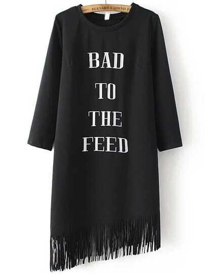 Black Letter Embroidery Fringe Hem  Dress