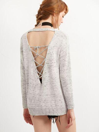 Ivory Drop Shoulder Lace Up Back Sweater