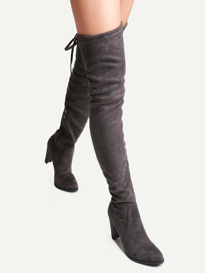 Grey Faux Suede Tie Back Over The Knee Boots