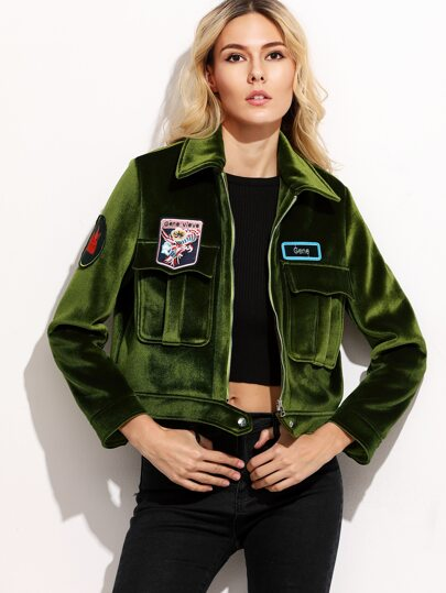 Olive Green Embroidered Patches Suede Jacket