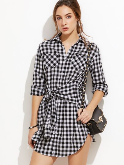 Black Gingham Sleeve Tie Front Shirt Dress