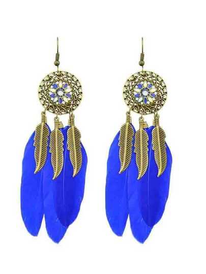 Darkblue Ethnic Style Colorful Feather Long Chandelier Earrings