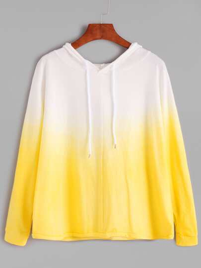Ombre Drawstring Hooded Long Sleeve Sweatshirt