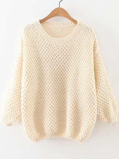 White Round Neck Drop Shoulder Sweater